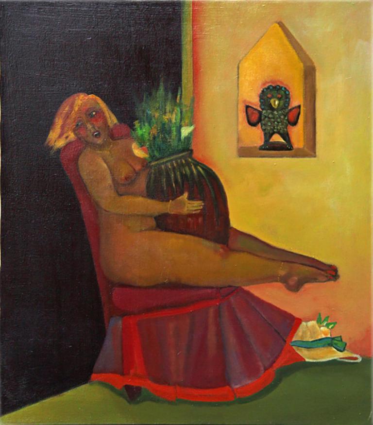 Nude on the Edge#2, colorful, whimsical imaginative nude