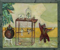 Cooped Up, colorful painting of cats and birds in birdcage