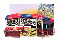 Tickets/ Coney Island, colorful detailed cut paper, urban New York graphic