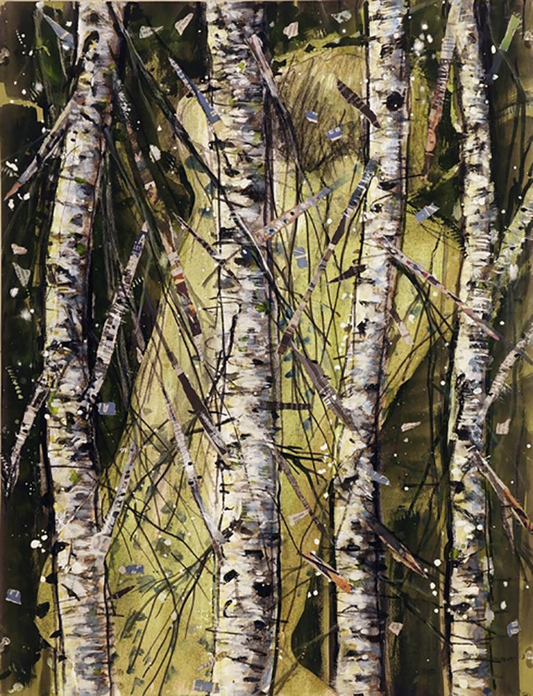 Forest Torso, mystery, birch trees, abstract figure, earth tones