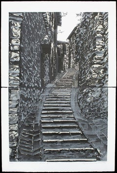 Assisi IV, black and white, grey tones master print Italian architecture