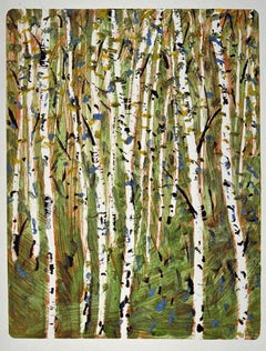 Fall Birch , colorful monorpint, nature trees