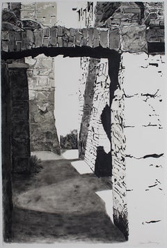 Approaching Slains Castle #7, black white and grey monotype