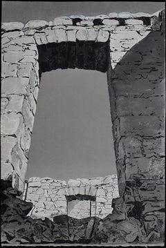 Approaching Slains Castle, #12, black and white, architecture, Scottish