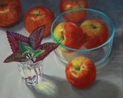 Apples and Glass, super real, illustionistic, colorful contemporary still life