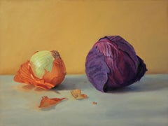 Yellow and Red, realistic, colorful still life with cabbage and onion