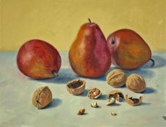Pears and Walnuts, photo realist still life