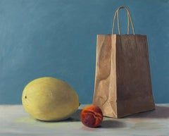 X Squash and Peach, stark colorful super realist still life everyday objects