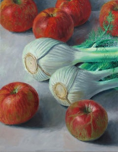 Fennel and Paula Reds, colorful, photo realistic, still life