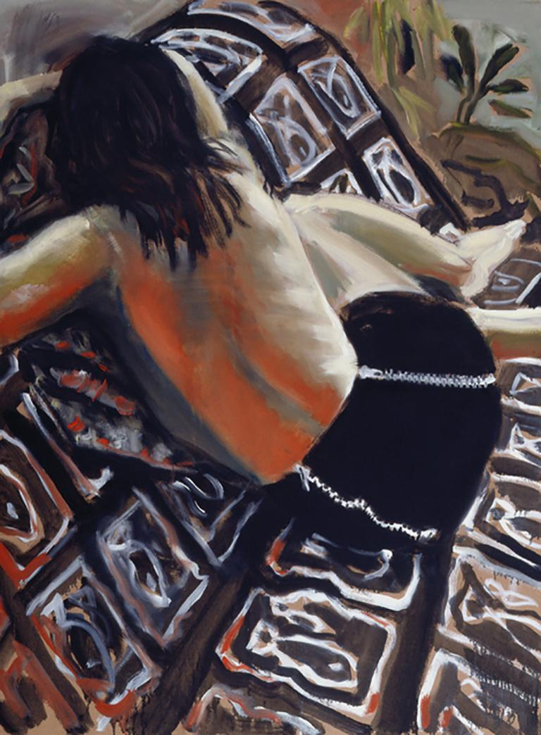 """""""Hooked,"""" back view of figure, contemporary oil paint red & black colors"""