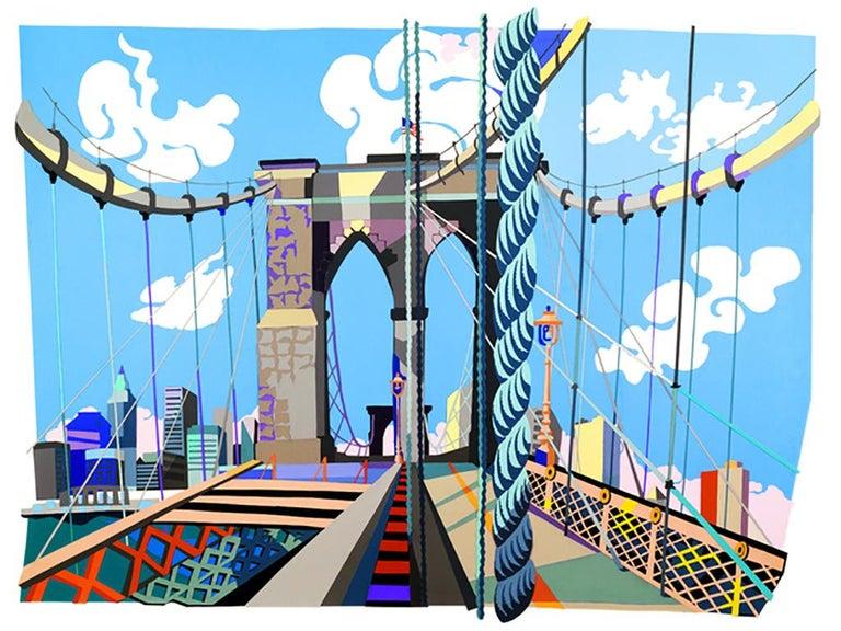 Philomena Marano Landscape Print - I Hear the Brooklyn Bridge Singing, bright colors, urban landscape