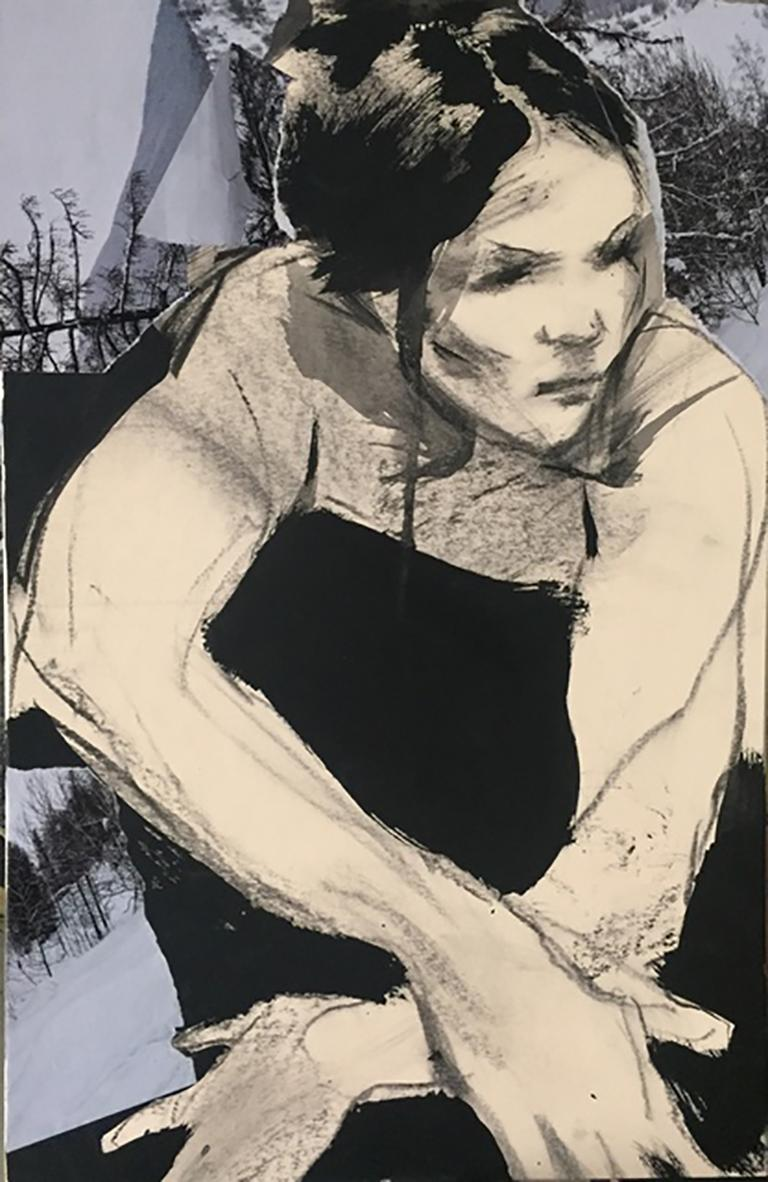 Cold View, neutral and grey tone drawing and collage, woman and nature