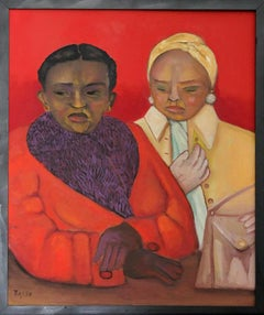Red Winter, colorful double portrait oil on canvas