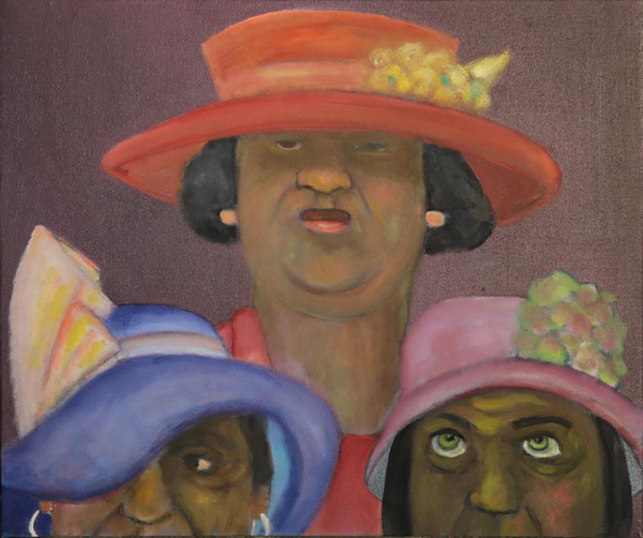 Crown Jewels, colorful, figurative, outsider, narrative, three women, hats