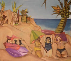 Costa Esmeralda, colorful humorous beach scene
