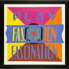 PLAY FASCINATION 1 , bright color, text, acrylic, hard edge