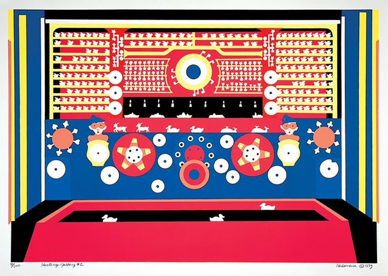 Shooting Gallery #2, colorful playful whimsical pattern graphic serigraph  - Print by Philomena Marano
