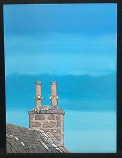 Roanheads Chimneys #2, blue sky, stone architecture. Scotland