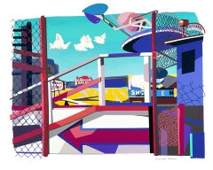 Miracles Only/ Coney Island, colorful cut paper American modernism, amusements