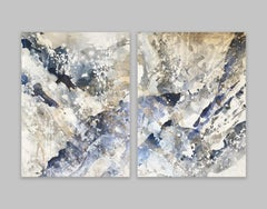Baby Leo Blue Diptych, 2020, Mixed Media on Canvas, Signed