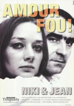 """TINGUELY & SAINT PHALLE Amour Fou! 50.25"""" x 35.25"""" Poster 2006 Black"""