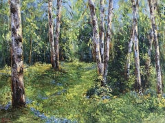 Birch Trees in the Sunshine, Painting, Oil on Canvas