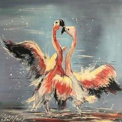 Dance of Pink Flamingoes, Painting, Oil on Canvas
