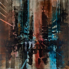 New York City late night IV, Painting, Oil on Wood Panel