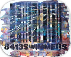 Swimmers 413 Swimmers over a Multicolor Bar Code s, Painting, Acrylic on MDF Pan