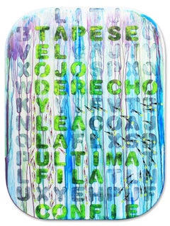 Swimmers 871 Last line always believe in yourself, Painting, Acrylic on Wood Pan