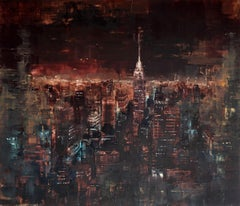 NYC Empire State Building night I, Painting, Oil on Wood Panel