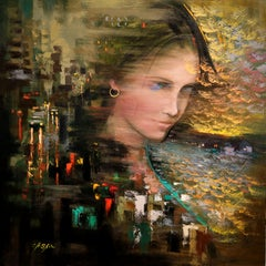 A Long Travel and the Girl with Gold Earring, Painting, Oil on Canvas