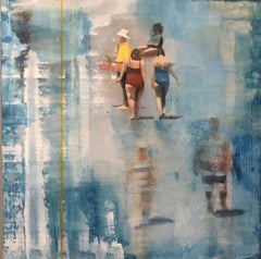Walking on the Beach, Painting, Oil on MDF Panel