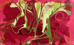 """""""ALIZARIN GARDENS"""", Abstract Painting, Acrylic on Canvas, Red Rose Yellow Green"""