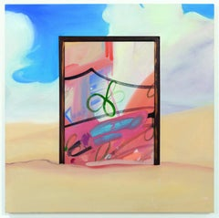 """STUCK"", Painting, Oil and Acrylic on Canvas, Clouds, Sand, Window, Abstract Art"