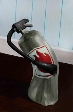 """THIS WON'T HELP"", Oil Paint on Canvas, Fire Extinguisher, Home, Disaster, Humor"