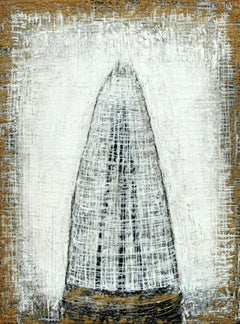 """LOTUS TEMPLE #9"", Encaustic and Mixed Media, Framed, Temple, Black, White, Tan"