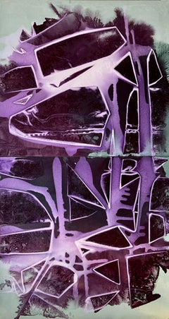 """""""BREAKING VIOLET"""", Abstract Painting, Diptych, Acrylic on Canvas, Violet & Green"""