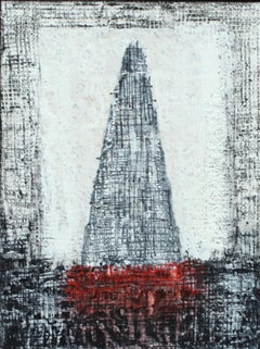 """""""LOTUS TEMPLE #1"""", Encaustic and Mixed Media, Framed, Black, White, Red, Temple"""