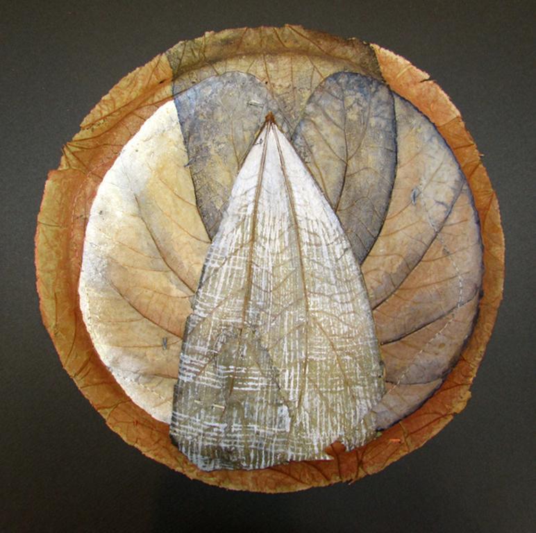 """SOMEWHERE ELSE #3"", Watercolor on Sal Leaf Plate, Black Frame, White, Tan, Gold"