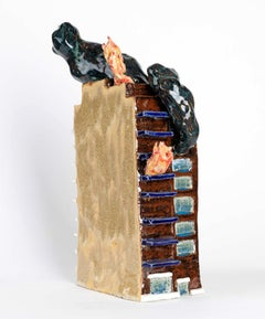 """""""MOVIN' ON UP, Ceramic Sculpture, Apartment Building on Fire, Disaster, Humor"""