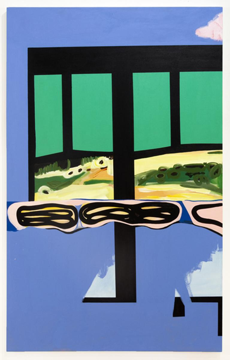 """""""CLOUD"""", Abstract Painting, Window with Sky and Clouds, Blue, Green, Gold Fields"""