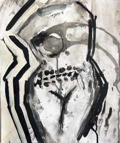 """""""UNTITLED"""", Drawing on Paper, Ink and Acrylic, Nude Woman in Black, Cream, White"""