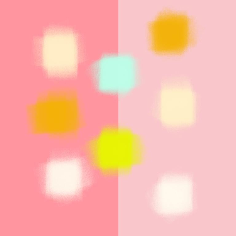 """Justin Neely Abstract Painting - """"IMAGINED HEAT SPOTS 06212018 807pm"""", Abstract, Digital, Rose, Pink, Blue, Gold"""