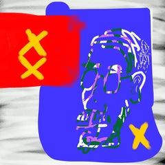 """BROKEN MIRROR 03242018 607pm"", Primitive, Digital Print, Flag, Purple, Red"