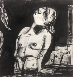 """""""Wading Woman"""", drawing, ink, portrait"""