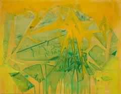 """""""LAKE ONTARIO"""", Abstract Painting, Acrylic on Canvas, Yellow & Green"""