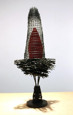 """NESTING LOTUS #1"", Sculpture, Wire Mesh, Reed, Bamboo, Handmade Paper, Concrete"