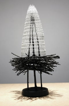 """NESTING LOTUS #3"", Sculpture, Wire Mesh, Reed, Handmade Paper, Concrete, Temple"