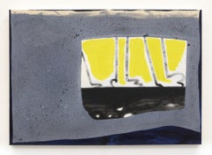 """ROAD KILL"", Oil and Acrylic on Canvas, Black, Yellow, Grey, Blue with Grit"
